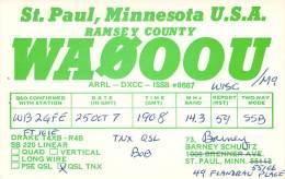 Amateur Radio QSL - WA0OOU/M Mobile In Wisconsin -USA- 1970s