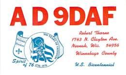 Amateur Radio QSL - AD9DAF - Neenah, WI -USA- 1976 - 2 Scans - Radio Amateur