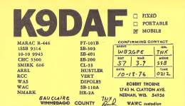 Amateur Radio QSL - K9DAF/M Mobile In Eauclaire County, WI -USA- 1976
