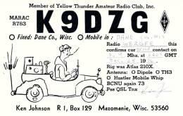 Amateur Radio QSL - K9DZG/M Mobile In Dane County, WI -USA- 1976