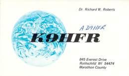 Amateur Radio QSL - AD9HFR / K9HFR - Rothschild, WI -USA- 1976 - 2 Scans