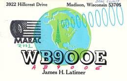 Amateur Radio QSL - AB9OOE / WB9OOE - Madison, WI -USA- 1976 - 2 Scans