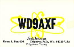 Amateur Radio QSL - WD9AXF - Chippewa Falls, WI -USA- 1977 - 2 Scans