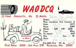 Amateur Radio QSL - WA0DCQ/M Mobile Is Sauk County, WI -USA- 1977 - 2 Scans