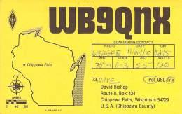 Amateur Radio QSL - WB9QNX - Chippewa Falls, WI -USA- 1977