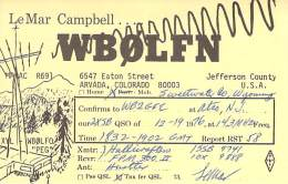 Amateur Radio QSL - WB0LFN/M Mobile In Sweetwater County, WY -USA- 1976 - 2 Scans