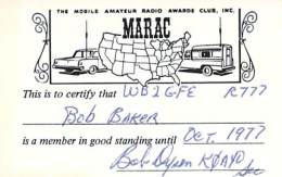 MARAC - Mobile Amateur Radio Awards Club - 1977 Membership Card For WB2GFE - Radio Amateur