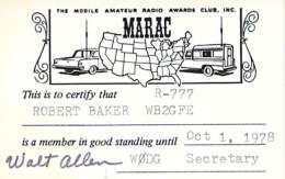 MARAC - Mobile Amateur Radio Awards Club - 1978 Membership Card For WB2GFE