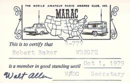 MARAC - Mobile Amateur Radio Awards Club - 1979 Membership Card For WB2GFE