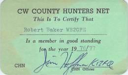 CHN: CW County Hunters Net - 1976/77 Membership Card For WB2GFE - Radio Amateur