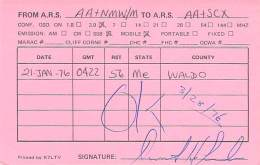 Amateur Radio QSL - AA1NMW Mobile In Waldo County, ME -USA- 1976