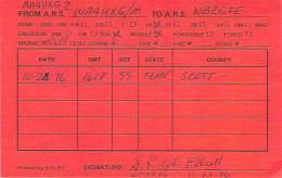 Amateur Radio QSL - AA4HXG / WA4HXG Mobile In Scott County, TN -USA- 1976