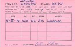 Amateur Radio QSL - AA5YWJ / WA5YWJ Mobile In Lawrence County, AR -USA- 1976 - Radio Amateur