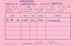 Amateur Radio QSL - AA5YWJ / WA5YWJ Mobile In Lawrence County, AR -USA- 1976