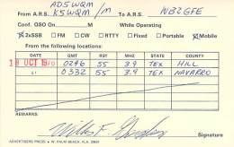 Amateur Radio QSL - AD5WQM / K5WQM Mobile In Hill & Navarro Counties TX -USA- 1976