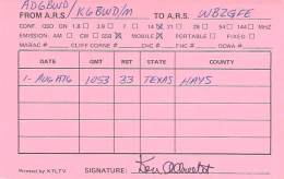 Amateur Radio QSL - AD6BWD / K6BWD Movile In Hays County TX -USA- 1976