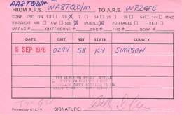 Amateur Radio QSL - AA8TQD / WA8TQD Mobile In Simpson County, KY -USA- 1976