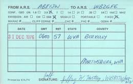 Amateur Radio QSL - AB8IJW - Martinsburg, WV -USA- 1976