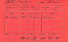 Amateur Radio QSL - AC8DCX / W8DCX - Hocking County, OH -USA- 1976 - 2 Scans - Radio Amateur