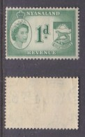 Nyasaland, Elizabth II, 1955, 1d Green, Revenue, MH * - Nyasaland (1907-1953)