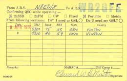 Amateur Radio QSL - N8ED Portable In Vinton County, OH -USA- 1978 (2 QSOs On 2 Bands)
