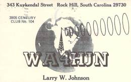 Amateur Radio QSL - WA4HJN - Rock Hill, SC -USA- 1977 - 2 Scans - Radio Amateur