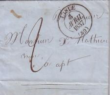 VAUCLUSE - L´ISLE - LE 3 AVRIL 1837 - TAXE MANUSCRITE 2 - LETTRE DU THOR AVEC TEXTE ET SIGNATURE CHARLES ROUX. - Marcophilie (Lettres)
