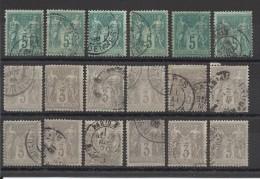 FRANCE - LOT DE 18 TIMBRES OBLITERES - COTE YT : 42€ - 1876/80 - France