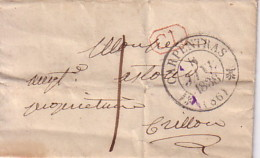 VAUCLUSE - CARPENTRAS - LE 8 JANVIER 1838 - T12 + CL EN ROUGE - TAXE MANUSCRITE 1 - LETTRE AVEC TEXTE ET SIGNATURE POUR - Marcophilie (Lettres)