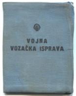 Ex Yugoslavia, Army JNA, Military Driving Booklet, Traffic, 1951. - Historische Dokumente