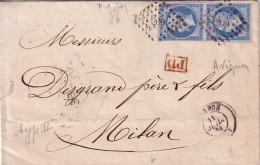 VAUCLUSE - AVIGNON - LE 11 JUILLET 1861 - EMPIRE N°14 EN PAIRE OBLITERATION PC260 - LETTRE POUR MILAN ITALIE. - Marcofilia (sobres)