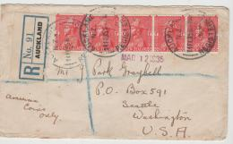 NZ180 / George V In Admiralsuniform, 5-er Streifen Per Einschreiben Nach USA - 1907-1947 Dominion