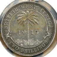 BRITISH WEST AFRICA 2 SHILLINGS PALM FRONT KGV HEAD BACK 1915H AG SILVER KM13 READ DESCRIPTION CAREFULLY!! - Monete