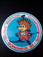 RARE WORLD BIATHLON CHAMPIONSHIPS 1993 BULGARIA BIG SIZE 5CM. BOROVETC BADGE PIN LOGO - Biathlon