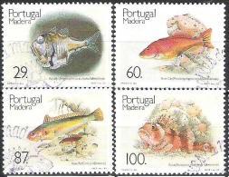 """Portugal - Madeira 1989: Michel-No. 129-132 Mit O Der CTT-Lisboa """"Fische In Madeira"""" - Fische"""