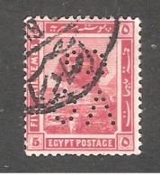Perfin Perforé Firmenlochung Egypt SG 90 VO Co Vacuum Oil Company - Égypte