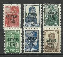 Lettland Latvia 1941 German Occupation Michel 1 - 6 * - Lettland