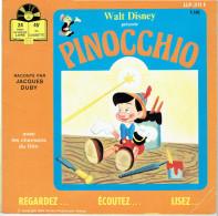 PINOCCHIO 1968 RACONTE PAR JACQUES DUBY WALT DISNEY LIVRET DE 24 PAGES ILLUSTREES ET DISQUE 45 TOURS - Disques & CD