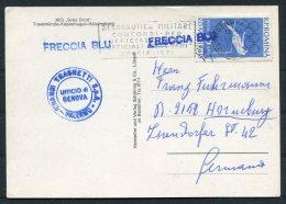1972 Romania M/S SVEA DROTT Ship Postcard FRECCIA BLU Genova Italy Aeronautica Militare - Cartas