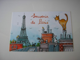 75 - SOUVENIR DE PARIS * LA TOUR EIFFEL ET LES TOITS DE PARIS - CHATS ET OISEAUX * DESSIN ILLUSTRATION D'ISABELLE BORNE - Tour Eiffel