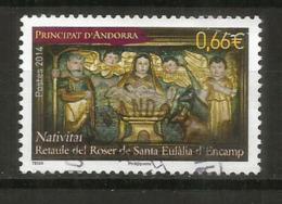 Noël Andorran 2014. (timbre Retable Eglise Sainte Eulalie D´Encamp) , Un Timbre Oblitéré, 1 ère Qualité.,cachet Rond - Gebraucht