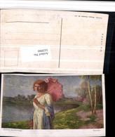 522990,Künstler AK Robert Scheffer Sommer Frau M. Schirm Kleid Teich - Mode