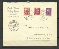 ESTLAND ESTONIA 1937 Brief Nach Königsberg + Vignette Olympische Spiele 1940 Helsinki Finland Commercial - Estland