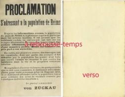 Format CPA-affiche Guerre-proclamation Population De Reims-menaces Du Général Von Zuckau - Guerre, Militaire