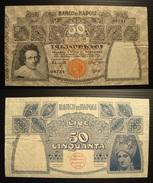 50 Lire Regno D'Italia Banco Di Napoli Biglietto Al Portatore Data 13/12/1914 Firme Miraglia/Mancini - 50 Lire