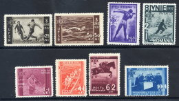.ROMANIA 1937 Sports Federation Fund Set  MNH / **.  Michel 528-35 - 1918-1948 Ferdinand, Charles II & Michael