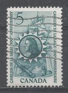 Canada 1966, Scott #446 La Salle, Map Of 17th Century Canada, Ship, Canoe, Spyglass And Compass (U) - 1952-.... Règne D'Elizabeth II