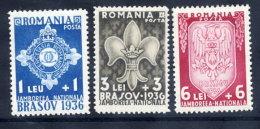 .ROMANIA 1936 Scout Jamboree Set  MNH / **.  Michel 516-18 - 1918-1948 Ferdinand, Charles II & Michael