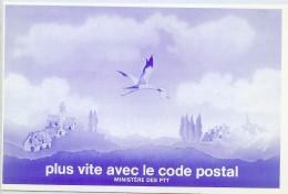 """LBR22B - CARTE POSTALE DE CHANGEMENT D'ADRESSE """"PLUS VITE AVEC LE CODE POSTAL"""" - Pseudo-entiers Officiels"""
