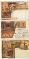 Roma 3 Cards Via Appia Antica Catacombes De St Calliste Signed H. Cavi Litho Salomone - Autres